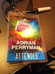 My attendee badge from the Lighting Symposium 2014